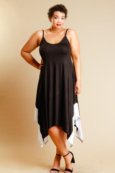 SPAGHETTI STRAP CONTRAST FLOWY DRESS