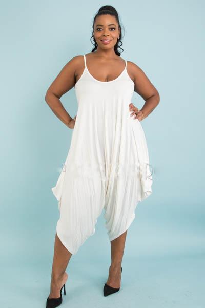 Solid sleeveless harem jumpsuit