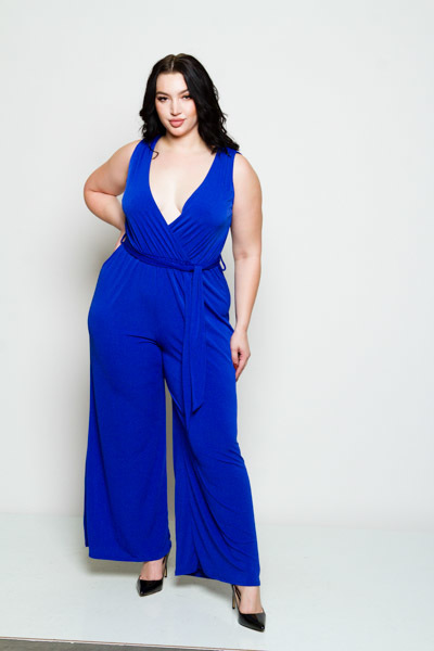 SOLID SLEEVELESS TIE JUMPSUIT