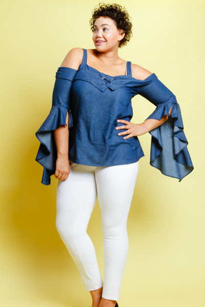 COLD SHOULDER FLARED OUT 3/4 LENGTH SLEEVES TOP