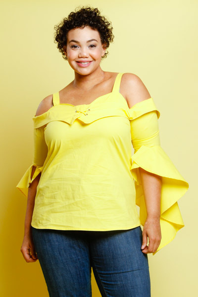 COLD SHOULDER ROUNDED NECK FLARED OUT SLEEVES TOP