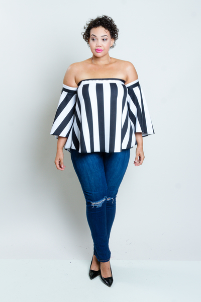 OFF SHOULDERS FLARED OUT SLEEVES VERTICAL STRIPES FLOWY TOP
