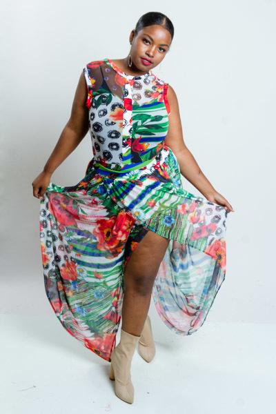 2 PIECE FLORAL PRINT SHEER SLIT DOWN THE MIDDLE DRESS