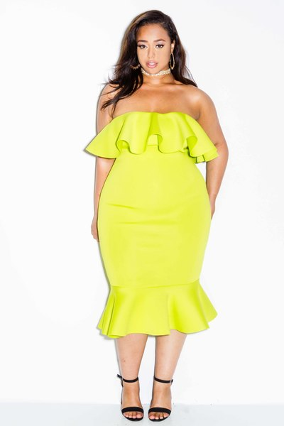 FLOUNCE TUBE FITTED DRESS