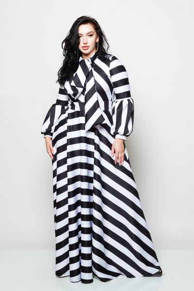 LONG PUFFED OUT SLEEVES WITH BOW AND HORIZONTAL STRIPES LONG FLOWY DRESS