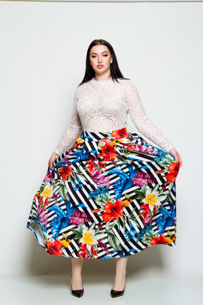 HIGH WAISTED FLORAL PRINT WITH POCKETS LONG SKIRT