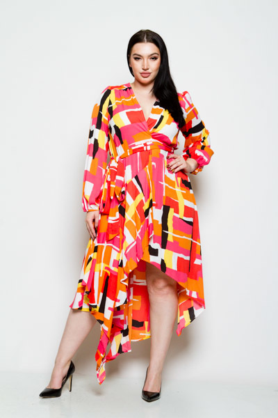 LONG SLEEVE ASYMMETRICAL HIGH LOW TIES AT WAIST PRINTED DRESS