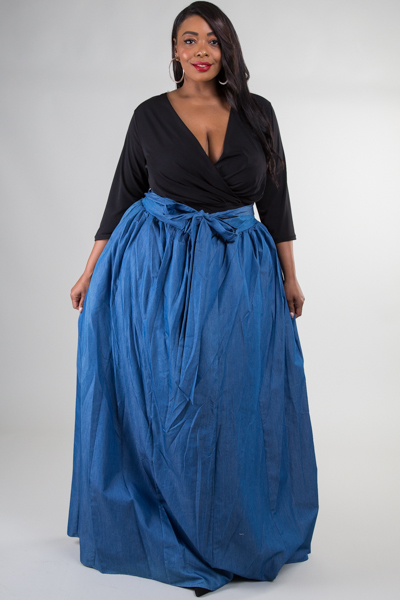 DENIM MAXI SKIRT WITH MESH UNDERNEATH