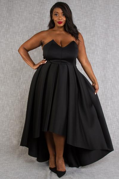 STRAPLESS HIGH LOW FLOWY DRESS
