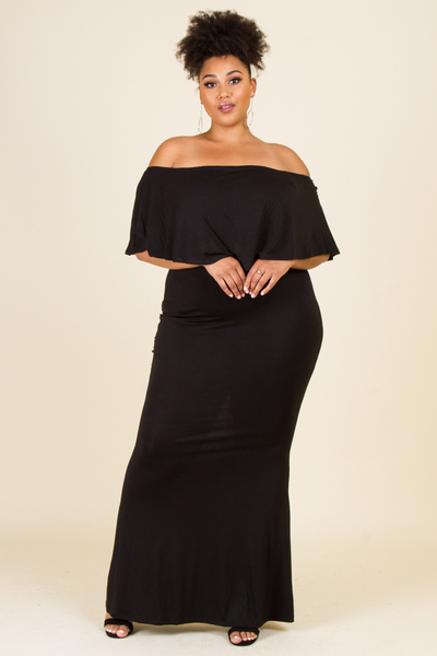 OFF SHOULDERS FOLD OVER LONG MAXI DRESS