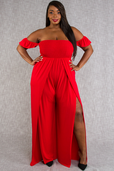 OFF SHOULDERS FLOWY BOTTOMS JUMPSUIT