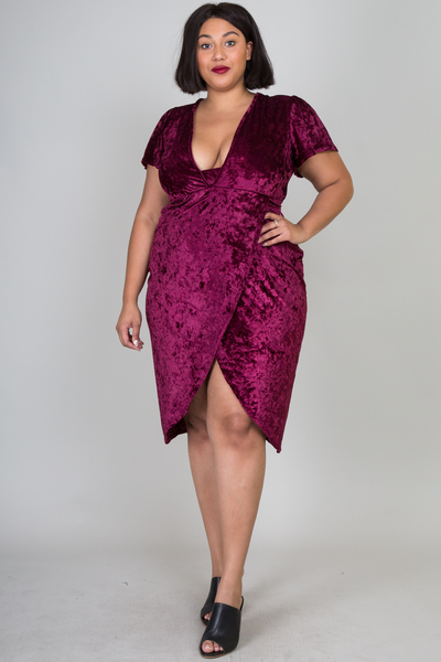 DEEP V NECK SHORT SLEEVE WITH A SLIT ON FRONT MIDI VELVET DRESS