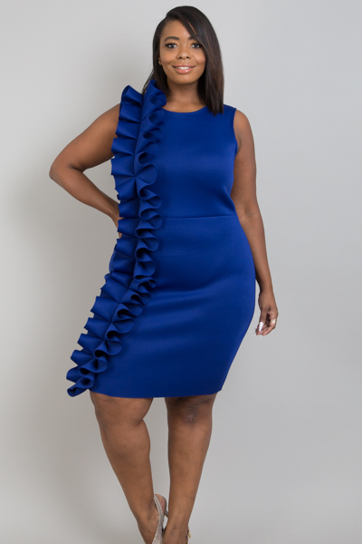 SLEEVELESS RUFFLES CASCADING DOWN SIDE BODYCON DRESS