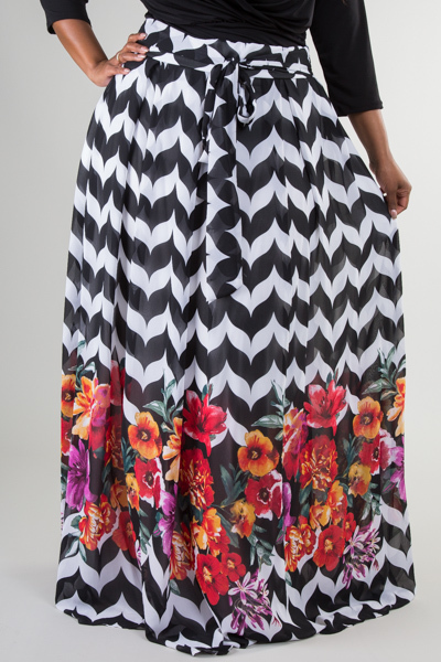 HIGH WAISTED WITH POCKETS PRINTED CHIFFON LONG MAXI SKIRT