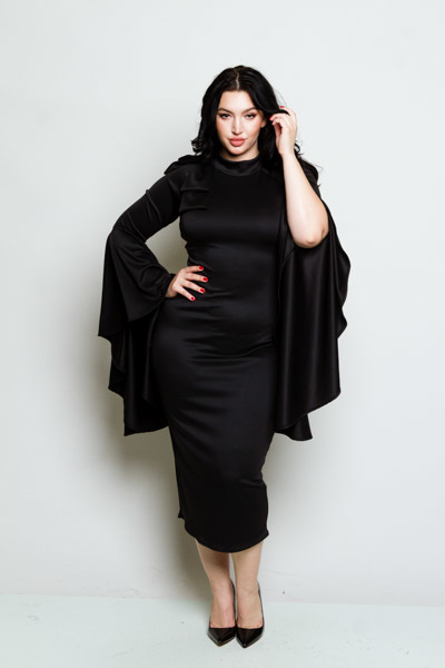 TURTLENECK 3/4 CASCADE SLEEVE WITH A RIBBON ON THE SHOULDER SOLID BLACK DRESS