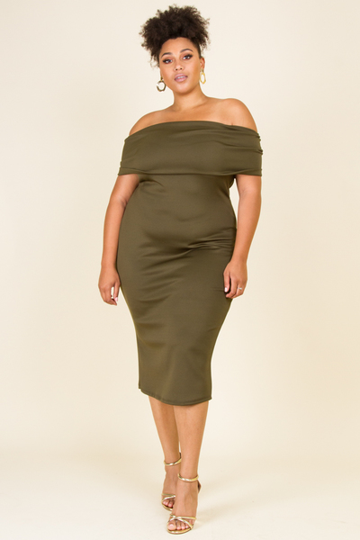 OFF SHOULDERS FOLD OVER WITH BOW DETAIL IN THE BACK KNEE LENGTH DRESS