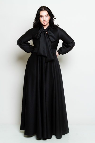 LONG PUFFED OUT SLEEVES WITH BOW  LONG FLOWY DRESS