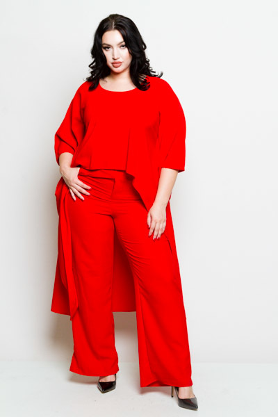 2 PIECE ROUND NECK EXTRA LONG TAILS SLEEVES TOP WITH MATCHING PANTS SOLID RED JUMP SUIT