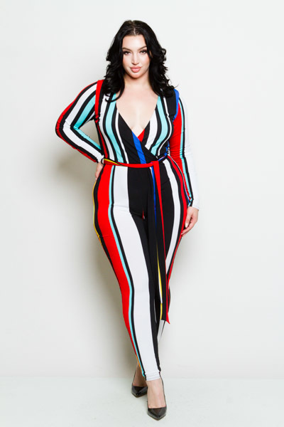 BODYCON LONG SLEEVE V NECK CRISSCROSSED ON TOP AND A TIE ON THE WAIST PRINTED JUMP SUIT