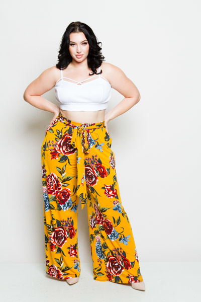 FRONT TIE PRINTED LOOSE FITTING PANTS