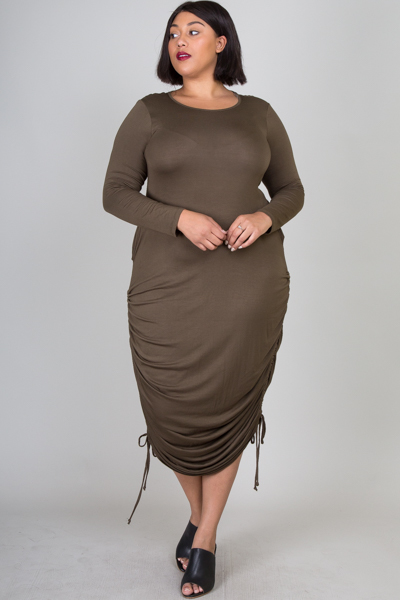 ROUND NECK LONG SLEEVE MAXI DRESS WITH TIED LACE ON BOTH SIDES ABOVE THE HIPS