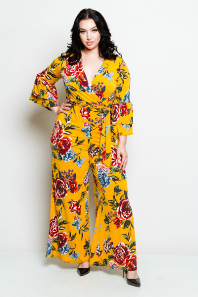 CRISSCROSSED V NECK LONG RUFFLED SLEEVE WITH A TIE ON THE WAIST PRINTED JUMPSUIT