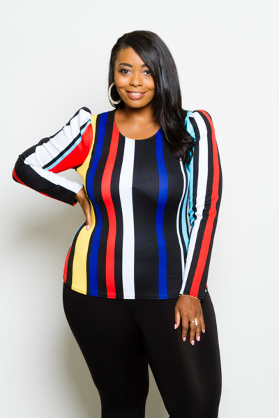 ROUND NECK PUFFED OUT SHOULDERS LONG SLEEVE MULTICOLOR TOP