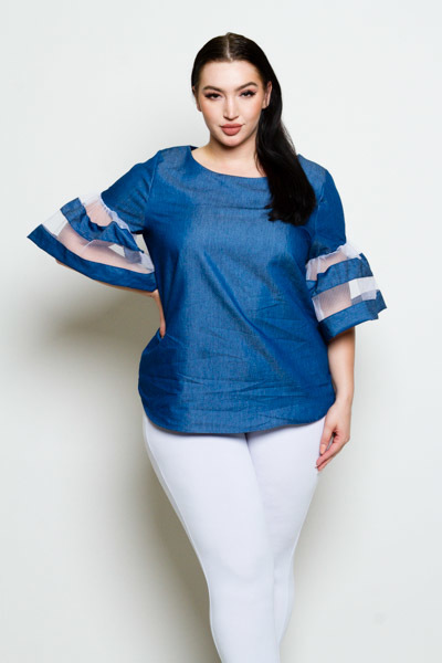 ROUND NECK EXTRA LONG BELL SLEEVE DENIM WITH ORGANZA DETAILS TOP