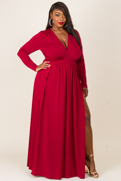DEEP V NECK LONG SLEEVE WITH 2 SLITS ON FRONT SOLID BURGUNDY DRESS