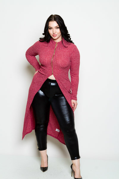 ROUND NECK LONG SLEEVE ZIPPER ON FRONT LONG TUNIC