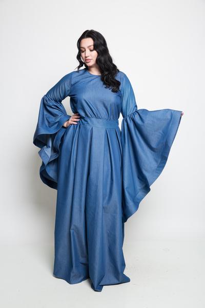 BELL SLEEVE DENIM MAXI DRESS