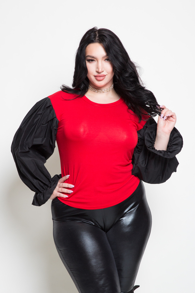ROUND NECK LONG BALLOON SLEEVE SOLID TOP
