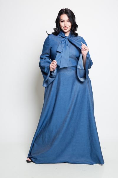 DENIM MAXI DRESS WITH RIBBON POINT