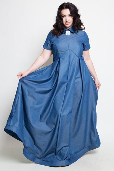 SHORT SLEEVES DENIM SHIRT STYLE MAXI DRESS