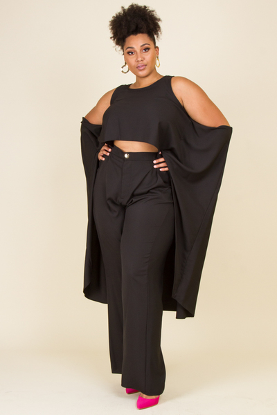2-PIECE ROUND NECK COLD SHOULDER WITH EXTRA LONG TAIL SLIT WITH MATCHING PANTS