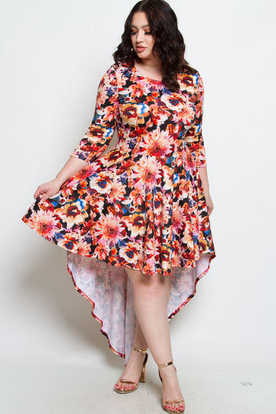 ROUND NECK 3/4 SLEEVE HIGH LOW DRESS WITH CASCADE TAIL ON THE BACK