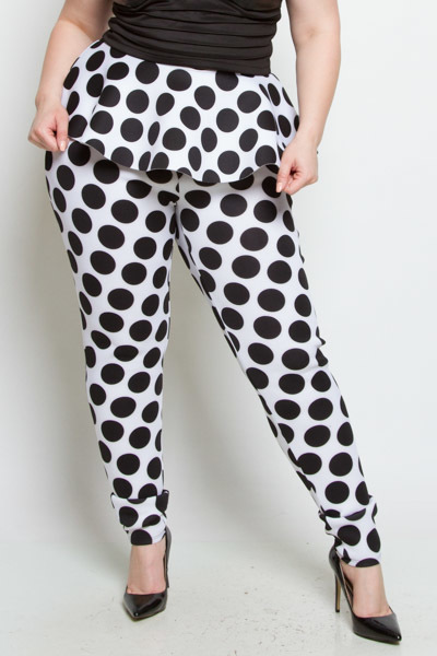 DOT PRINT HIGH RISE SKIRT PANTS 2 IN 1 TIGHT