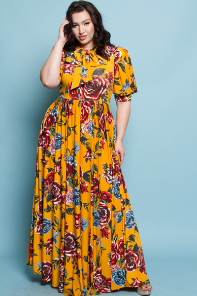 SHORT PUFFED OUT SLEEVES WITH BOW PRINTED LONG FLOWY DRESS