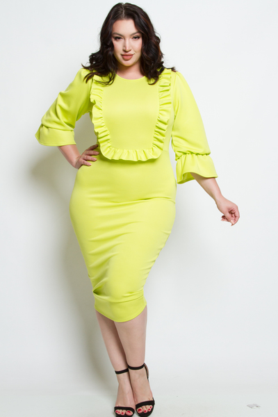 ROUND NECK 3/4 SLEEVES SQUARE FRILL POINT MIDI DRESS