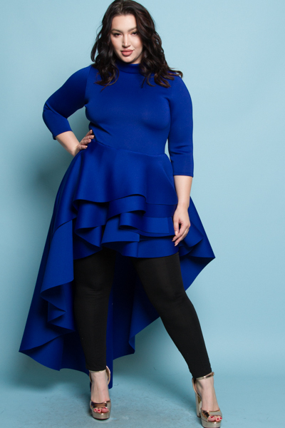 TURTLENECK 3/4 SLEEVE WITH A CASCADE TAIL ON THE BACK SOLID BLACK MINI DRESS