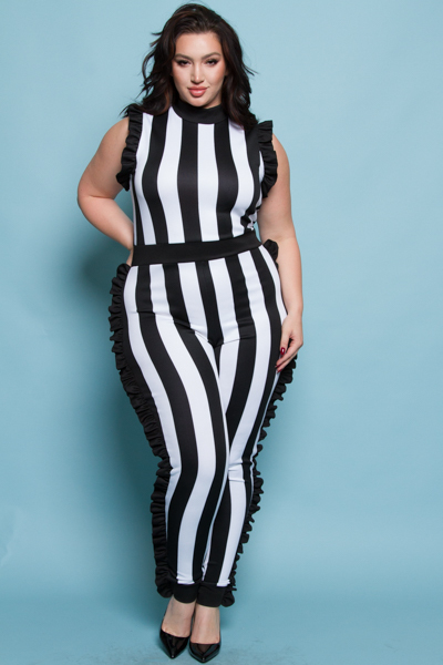 SIDE CUTE RUFFLES BLACK AND WHITE STRIPE PRINTED JUMPSUITS