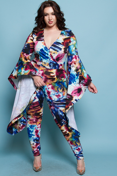 BELL SLEEVE FLOWER PATTERN JUMPSUITS