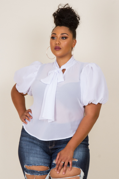 PUFFED SHORT SLEEVE RIBBON POINT TOP