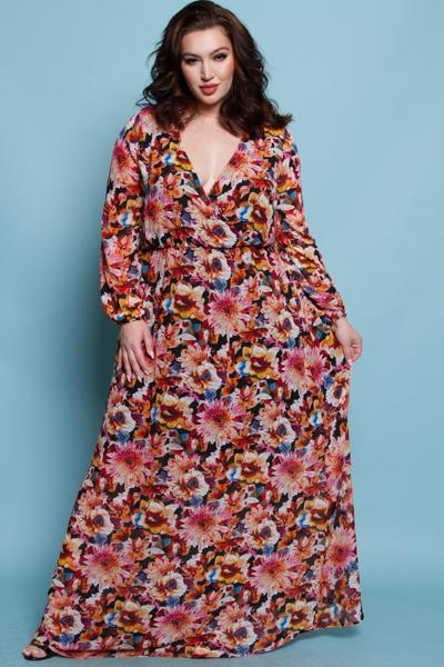 COMFORTABLE FLOWER PRINTED CHIFFON MAXI DRESS