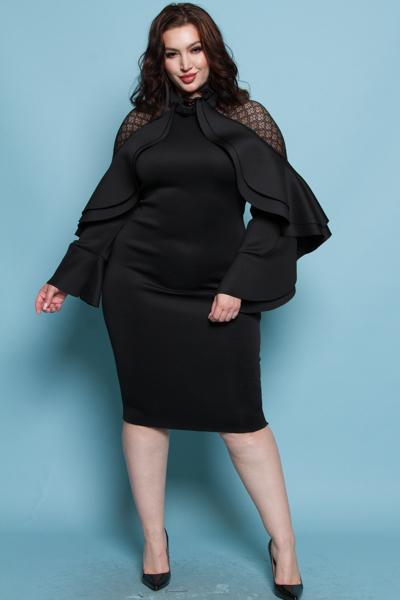 ELEGANT HIGH NECK FRILLED DRESS
