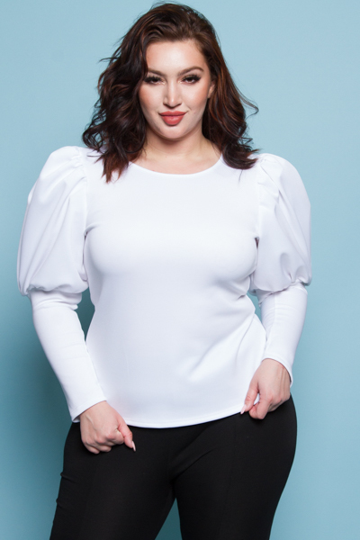 ROUND NECK PUFFED OUT SHOULDERS LONG SLEEVE SOLID TOP