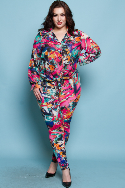 PLUS SIZE PRINTED TOP AND PANTS SET