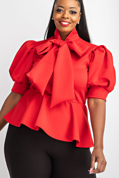 SHORT SLV TIE NECK PEPLUM TOP