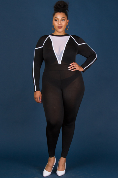 SEXY FRONT MESH POINT JUMPSUITS