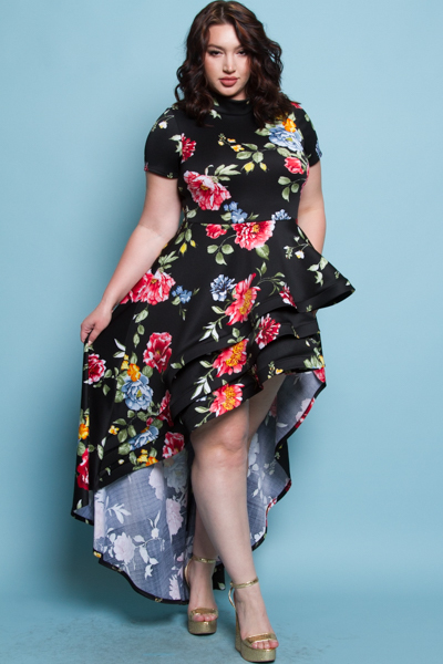 TURTLENECK SHORT SLEEVES WITH A CASCADE TAIL ON THE SIDE FLOWER PRINTED MINI DRESS